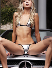 Francesca,Auto Erotica FHG,Skinny blond Francesca strips out of her tiny silver bikini and straddles a sleek silver sports car...