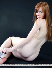 Jo A: Kolieh by Ingret - White thigh-high stockings and a matching lace garter belt amplifies Jo's innocent and youthful allure, with her smooth,